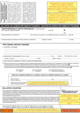 sol·licitud de llicència per canvi de titularitat / solicitud de licencia