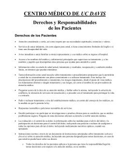 CENTRO MÉDICO DE UC DAVIS Derechos y Responsabilidades