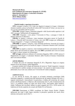 Mariaorsola Rosso Prof. Ordinario di Letteratura Spagnola (L