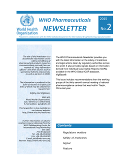 WHO Pharmaceuticals Newsletter