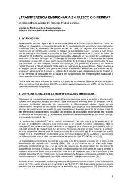 TRANSFERENCIA EMBRIONARIA EN FRESCO O DIFERIDA