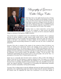 Biography of Governor Eddie Baza Calvo
