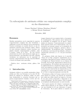 Un subconjunto de autómata celular con comportamiento complejo