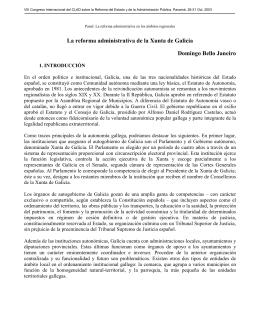 La reforma administrativa de la Xunta de Galicia