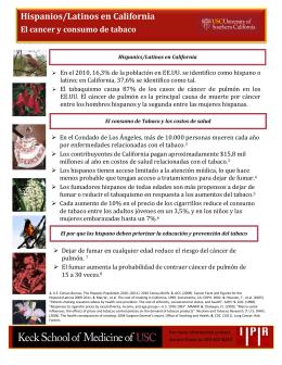 Hispanios/Latinos en California El cancer y consumo de tabaco