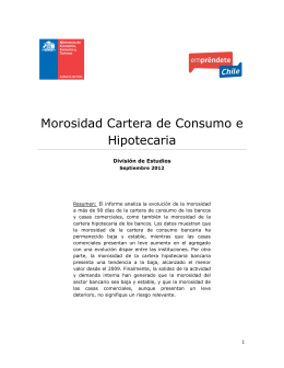 Boletin Morosidad Consumo e Hipotecaria