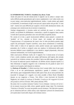 LE SINDROMI DEL TURISTA: Stendhal, Zoo, Hesse, Trude