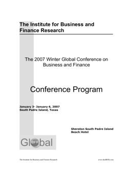 Program - The Institute for Business and Finance Research (IBFR)