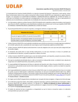 Lineamientos específicos de Beca Convenio UDLAP