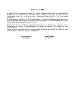 Memoria ao 2001 - Sociedad uruguaya de artistas e intérpretes