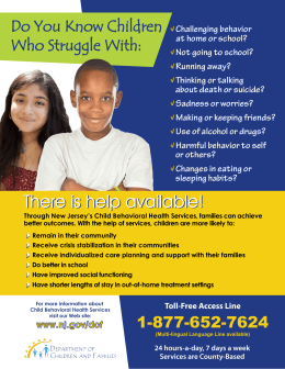 There is help available! - Rutgers University Behavioral Health Care