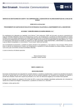 SERVICIO DE ANOTACIONES EN CUENTA Y DE