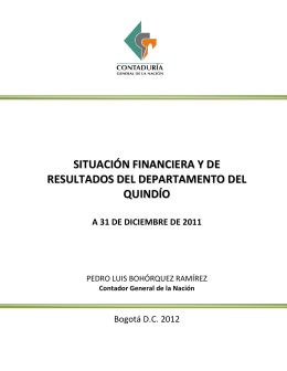 situación financiera y de resultados del departamento del quindío