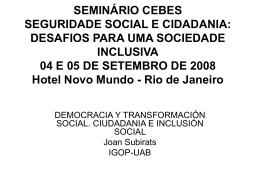 SEMINÁRIO CEBES SEGURIDADE SOCIAL E CIDADANIA