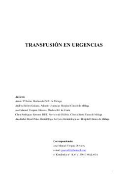 Transfusión en Urgencias. Reacciones Postransfusionales