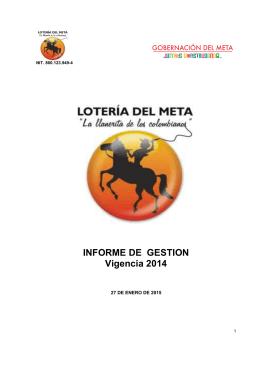 Informe de gestion Vigencia 2014 LOTERIA DEL