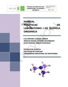 MANUAL PRÁCTICAS DE LABORATORIO I DE QUÍMICA ORGÁNICA