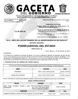 Horario Oficial del Poder Judicial del Estado de México