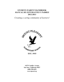 student handbook 12-13 - Mt. Pleasant Elementary STEM Academy
