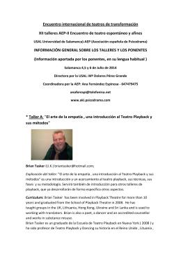 Información sobre los talleres y los ponentes del