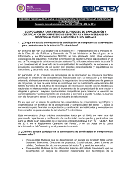 convocatoria para financiar el proceso de capacitación y