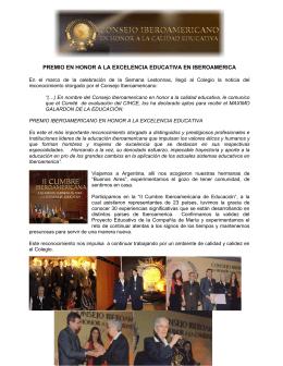premio en honor a la excelencia educativa en iberoamerica