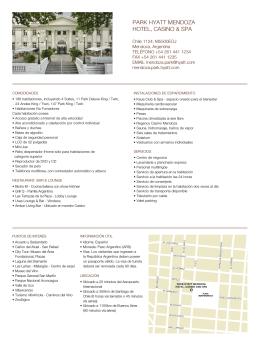 Hoja de datos - Park Hyatt Mendoza