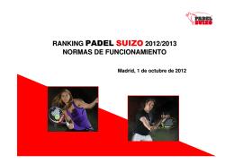 ranking padel suizo 2012/2013 normas de funcionamiento
