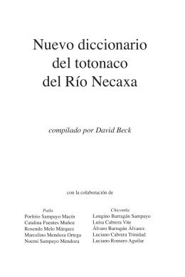 Nuevo diccionario del totonaco del Río Necaxa