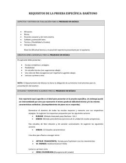 REQUISITOS DE LA PRUEBA ESPECÍFICA: BARÍTONO