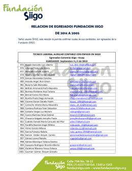 RELACION DE EGRESADOS FUNDACION SIIGO DE 2014 A 2005