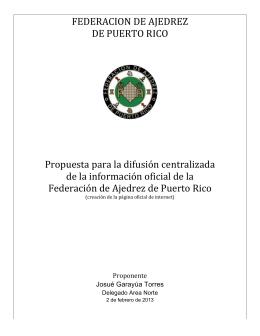 Propuesta Pagina Web FAPR - Federación de Ajedrez de Puerto Rico