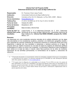Informe final* del Proyecto HJ032 Diatomeas bentónicas