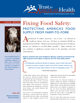 Fixing Food Safety - Trust for America`s Health