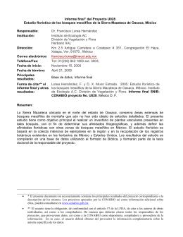 Informe final* del Proyecto U028 Estudio florístico de los