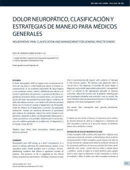 dolor neuropático, clasificación y estrategias de manejo para
