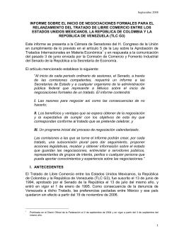 Informe sobre el inicio de negociaciones Colombia