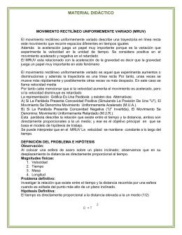 MOVIMIENTO RECTILINEO UNIFORMEMENTE VARIADO (MRUV)