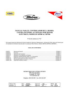 manual para el controlador de la bomba contra incendio, accionada