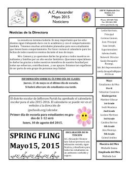 SPRING FLING Mayo15, 2015 - AC Alexander Elementary School