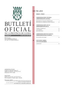 BUTLLETÍ OFICIAL - Consell Comarcal de la Segarra