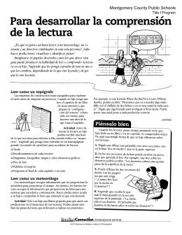 Para desarrollar la comprensión de la lectura