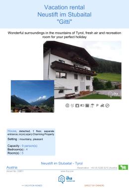 """Vacation rental Stubaital """"Gitti"""""""