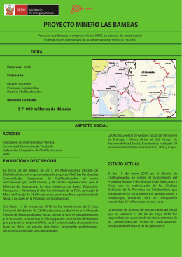 Proyecto Minero Las Bambas - Ministerio de Energía y Minas
