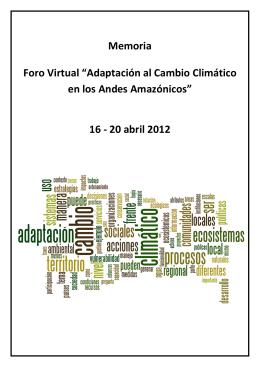 "Memorias - Foro Virtual ""Adaptación al Cambio"