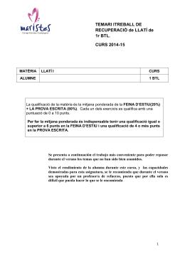 TEMARI ITREBALL DE RECUPERACIÓ de LLATÍ de 1r BTL. CURS