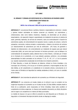 LEY 13081 EL SENADO Y CÁMARA DE DIPUTADOS DE LA