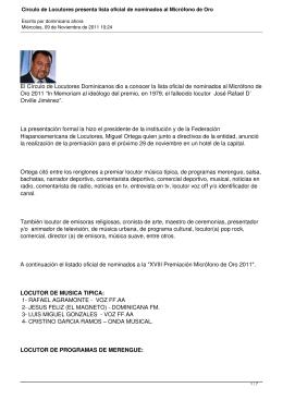 Circulo de Locutores presenta lista oficial de nominados al