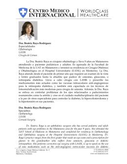 Dra. Beatriz Raya Rodríguez Especialidades Oftalmología LASIK