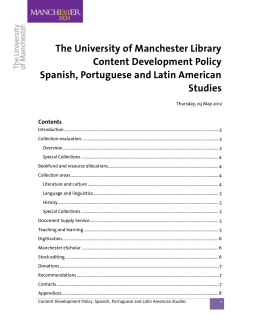 The University of Manchester Library Content Development Policy